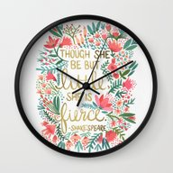 Wall Clock featuring Little & Fierce by Cat Coquillette
