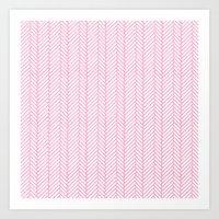 Herringbone Pink Art Print