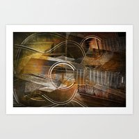 Abstract Cubist Style Guitar Art Print