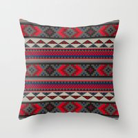 Navajo blanket pattern- red Throw Pillow