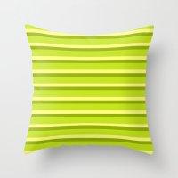 Lime Green Stripes Throw Pillow