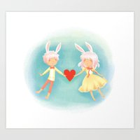 Bunny Hearts Art Print