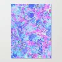 TIME FOR BUBBLY, AGAIN - Pastel Turquoise Baby Blue Purple Pink Feminine Bubbles Abstract Painting Canvas Print