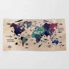 Oceans Life World Map  Beach Towel