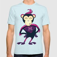 Monkey Mens Fitted Tee Light Blue SMALL