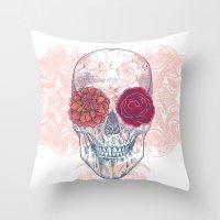 Double Flowers Skull Throw Pillow