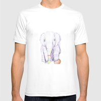 Striped Elephant Illustr… Mens Fitted Tee White SMALL