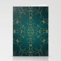 Gold Teal Mandala Stationery Cards