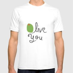Olive You. White SMALL Mens Fitted Tee