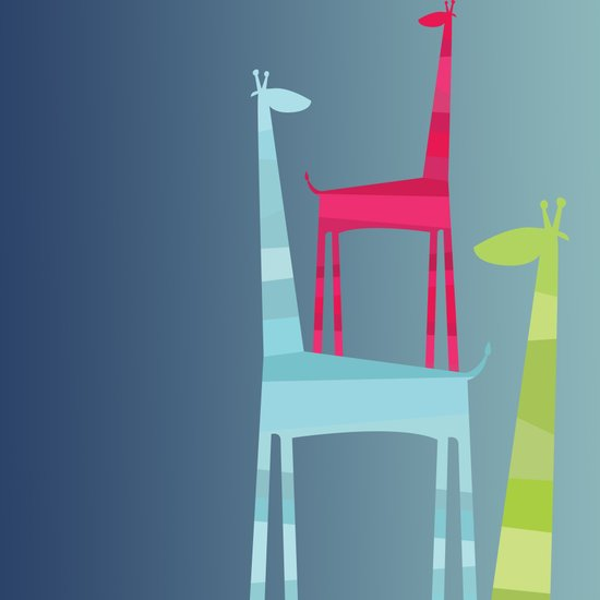 Giraffe Trio Art Print
