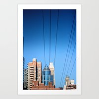 Buildings And Power Line… Art Print