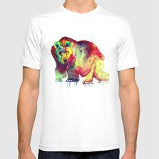 Coloured Bear SMALL White Mens Fitted Tee