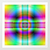 Neon Cross In Circle Art Print