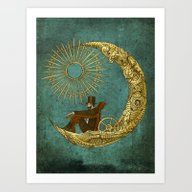 Art Print featuring Moon Travel by Eric Fan