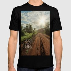 he who wanders enjoys life Mens Fitted Tee Black SMALL