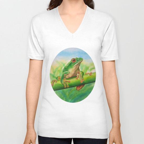 Green Treefrog V-neck T-shirt