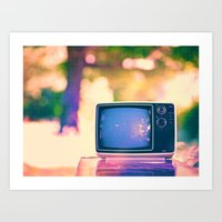 Sunset On The TV Art Print