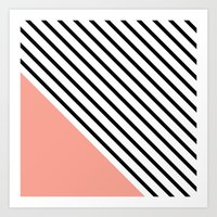 Diagonal Block - Pink Art Print