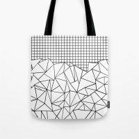 Abstract Grid #2 Black O… Tote Bag