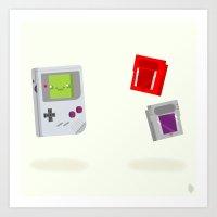 Gameboy & Games Art Print