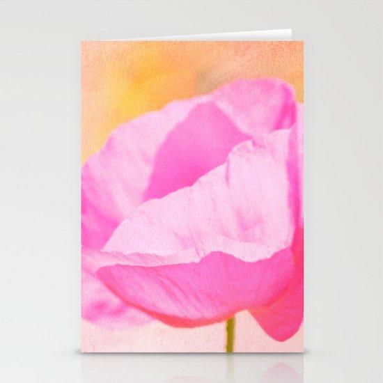 Pink Poppy Flower Stationery Card