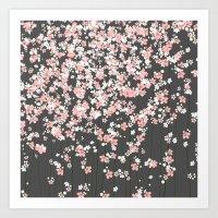 Black Background Pink Sh… Art Print
