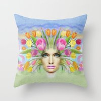 woman flowers colors Throw Pillow