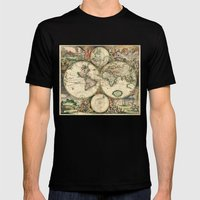 Old Map Of World Hemisph… Mens Fitted Tee Black SMALL
