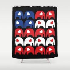 American Flag Elephants Shower Curtain