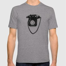 Telephone Mens Fitted Tee Athletic Grey SMALL