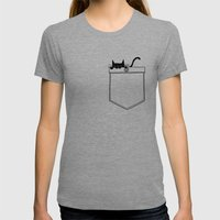Pocket Cat Womens Fitted Tee Tri-Grey SMALL