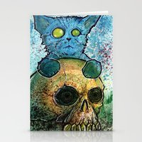 Blue Cat on a Skull Stationery Cards