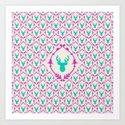 Oh Deer (teal) Art Print
