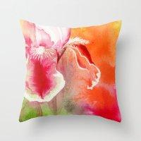 Iris, Magenta, Orange, Green Throw Pillow