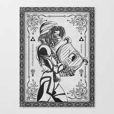 Legend of Zelda Shiek Princess Zelda Geek Line Art Canvas Print