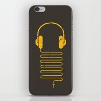 Gold Headphones iPhone & iPod Skin