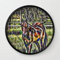 Horse In Paddock Wall Clock