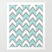 Minty Chevron Art Print