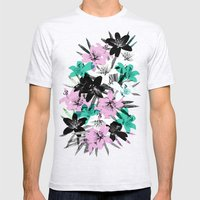 Tropical Floral Mens Fitted Tee Ash Grey SMALL