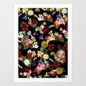 Flowery (black version) Art Print