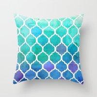 Emerald & Blue Marrakech… Throw Pillow