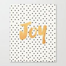 Joy - Polka dots and gold Canvas Print