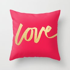 Love Gold Pink Type Throw Pillow