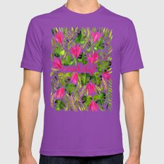 Tropical Wanderlust – Pink & Lime Mens Fitted Tee Ultraviolet SMALL