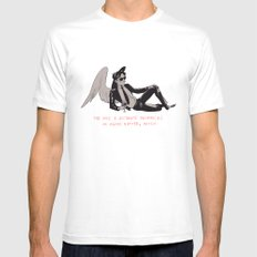 Sauntered Vaguely Downwards Mens Fitted Tee White SMALL