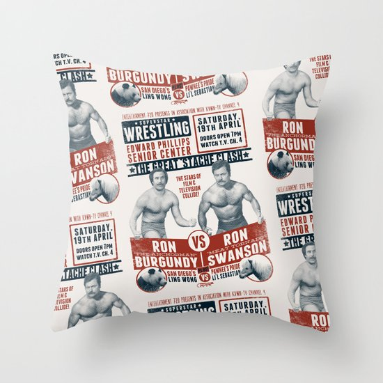 the Great 'Stache Clash (brick & blue variant) Throw Pillow