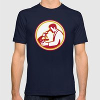 Scientist Lab Researcher Chemist Microscope Retro Mens Fitted Tee Navy SMALL