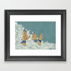Three Ama Enveloped In A Crashing Wave Framed Art Print