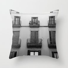 Black And White Building Throw Pillow