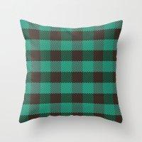 Pixel Plaid - Glacier Melt Throw Pillow